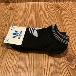 Women's Adidas Trefoil No Show Socks Black White